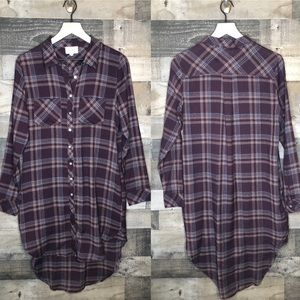 Everly Button Up Plaid Shirt Dress with Pockets
